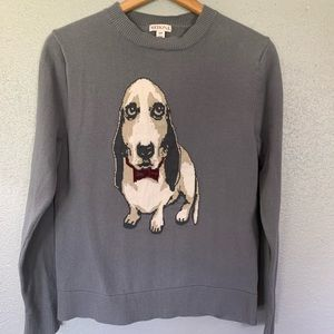 Basset Hound With Bow Tie Gray Sweater